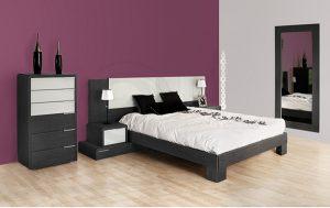 dormitorio con tonalidades grises
