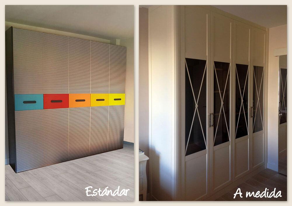 Comparación armario estándar y armario a medidaComparación armario estándar con armario a medida