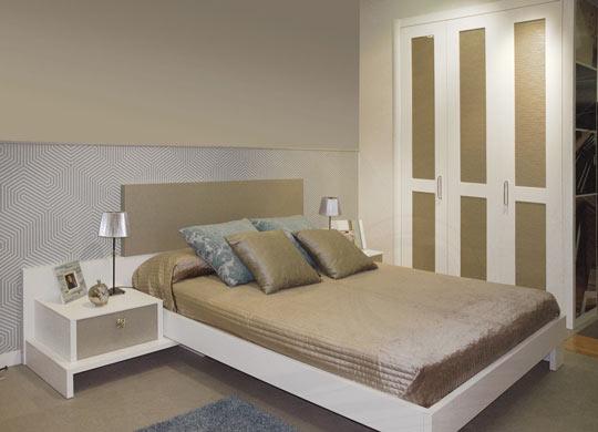 Dormitorio blanco en melamina blanca
