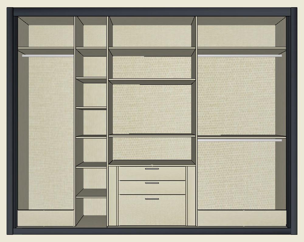 Diseo interior de armarios interior armario con baldas y - Armarios con cajones ...