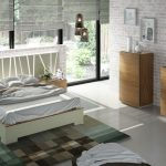 Dormitorio Cómoda espejo y chifonier Piedra mate y Nogal nogal ALTA