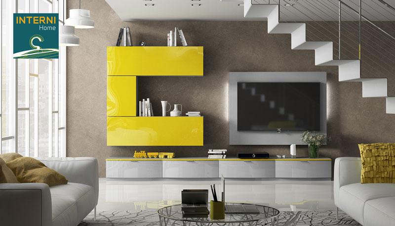 Salón Amarillo y gris brillo